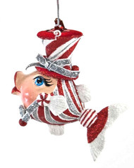 Katherine's Collection Peppermint Candy Kissing Fish in Silver Bows 28-828161