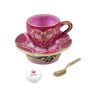 Love Teacup with Spoon and Heart Sugar Cube