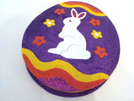 Katherine's Collection Sparkly Large Egg Shaped Bunny on Purple Big Candy Box