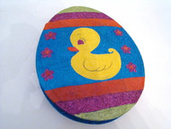 Katherine's Collection Sparkly Large Egg Shaped Duck on Blue Big Candy Box (28-28531BLUEDUCK)