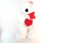 TY Plush Romeo White Bear with Red Heart