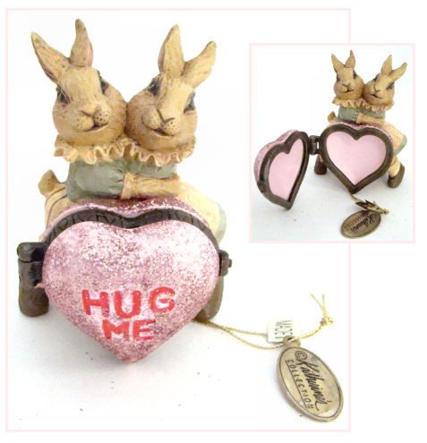 Katherine's Collection Bunny Rabbits HUG ME heart hinged box (07-70316)