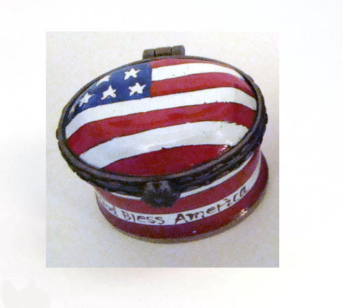 Kelvin Chen USA Flag Miniature Enamel Hinged Box EH521 (EH521)