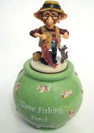 Bobble Coot Fisherman Gone Fishing Jar