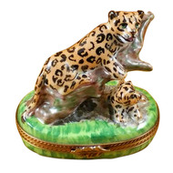 Rochard PANTHER MOTHER W/BABY Limoges Box RA060-J