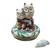 Rochard 2 OWLS WITH SNOW MOUSE Limoges Box RA322-I