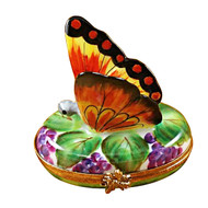 Rochard BUTTERFLY ON GRAPES Limoges Box RA325-I
