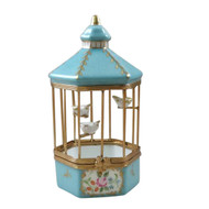 Rochard TIFFANY BLUE BIRD CAGE WITH 3 GOLD BIRDS Limoges Box RA327-J