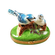 Rochard BLUE BIRDS WITH EGGS Limoges Box RA328-L