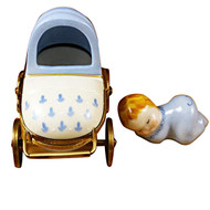 Limoges Imports BLUE BABY CARRIAGE Limoges Box TB585-I
