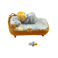 BABY IN BLUE BED W/ PACIFIER Limoges Box