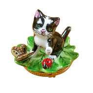 Rocharrd CAT ON LEAF W/ LADYBUG Limoges Box RC066-J