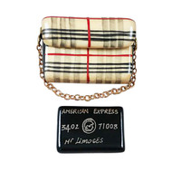 Rochard BURBERRY PURSE WITH BLACK AMERICAN EXPRESS CREDIT CARD Limoges Box RL203-I