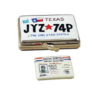 TEXAS LICENSE PLATE WITH REMOVABLE LICENSE Limoges Box (RT276-I)