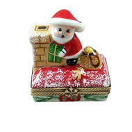 SANTA ON ROOF W/ GIFT BAG Limoges Box RX301-G