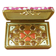 Limoges Imports PINK/WHITE GIFT BOX WITH CHOCOLATES Limoges Box TO982-F