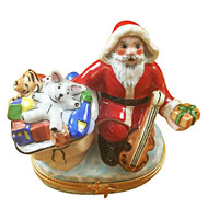 Limoges Imports SANTA WITH GIFT BAG AND VIOLIN Limoges Box TX953-H