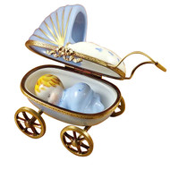 Blue Baby Carriage Limoges Box RB002-J