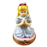 BLONDE GIRL PRAYING Limoges Box TR910-I