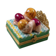 Rochard Twin Bed with 2 Baby Girls Limoges Box RB104GG-L