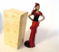 Red & Black Fringe Skirt Tassel Doll