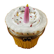 Cupcake W/Pink Candle Rochard Limoges Box