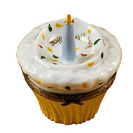 Cupcake With Blue Candle Rochard Limoges Box