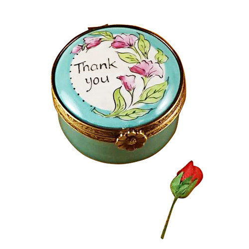 Thank You - Round With Removable Rose Rochard Limoges Box