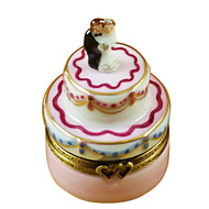 Mini Wedding Cake W/Bride & Groom Rochard Limoges Box