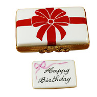 Gift Box With Red Bow - Happy Birthday Rochard Limoges Box RO181-H