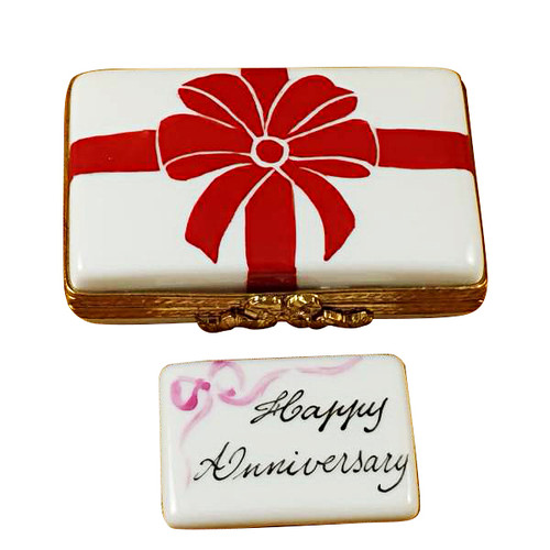 Gift Box With Red Bow - Happy Anniversary Rochard Limoges Box