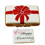 Gift Box With Red Bow - Happy Anniversary Rochard Limoges Box RO183-H