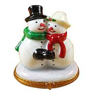 Snowman Couple Rochard Limoges Box