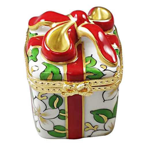 Christmas Gift Box W/Red Bow Rochard Limoges Box