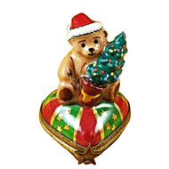 Teddy On Heart W/Tree Rochard Limoges Box
