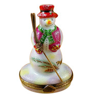 Snowman W/Red Hat & Broom Rochard Limoges Box