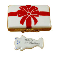 Gift Box With Red Bow - Baby'S 1St Christmas - Blue Rochard Limoges Box