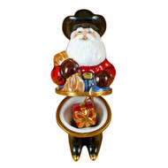 Santa With Cowboy Hat, Boots, Rope & Removable Present Rochard Limoges Box
