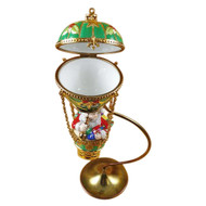 Santa In Balloon With Brass Stand Rochard Limoges Box RX155-N