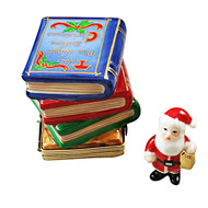 Twas Night Before Christmas Stack Of Books With Removable Santa Rochard Limoges Box