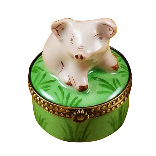 Mini Pig On Green Base Rochard Limoges Box