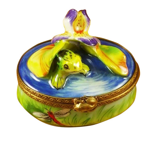 Frog Under Iris Flower Rochard Limoges Box
