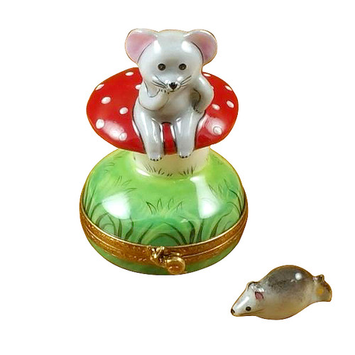 Mouse On Mushroom W/Removable Mouse Rochard Limoges Box