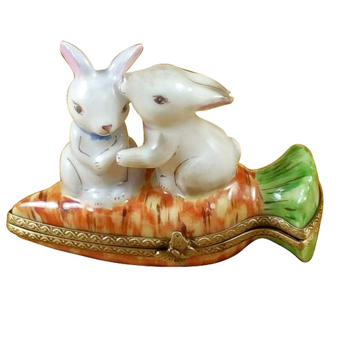 Rabbits On Carrot Rochard Limoges Box