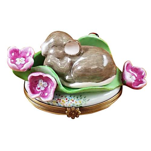 Sleeping Mouse Among Flowers Rochard Limoges Box