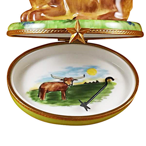 Lazy Longhorn With Star Branding Iron Rochard Limoges Box