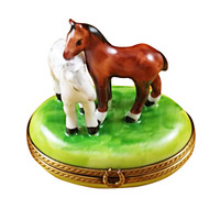 Two Horses On Small Oval Rochard Limoges Box