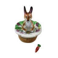 Rochard Brown Bunny On Leaf W/ Removable Carrot Limoges Box RA174-K