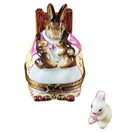 Mother Rabbit Rocking W/Baby Rochard Limoges Box