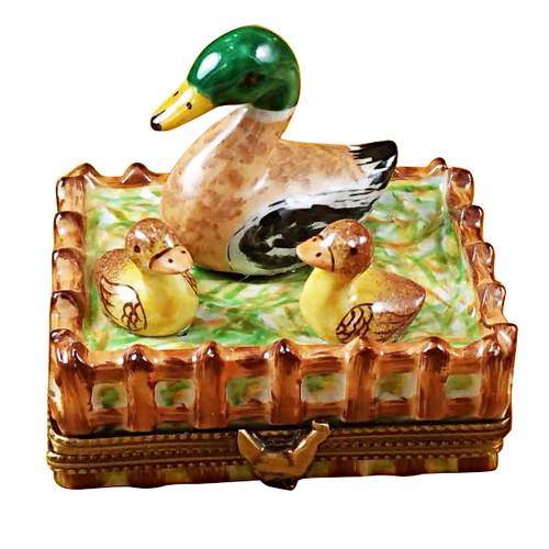 Duck W/ Three Babies Rochard Limoges Box